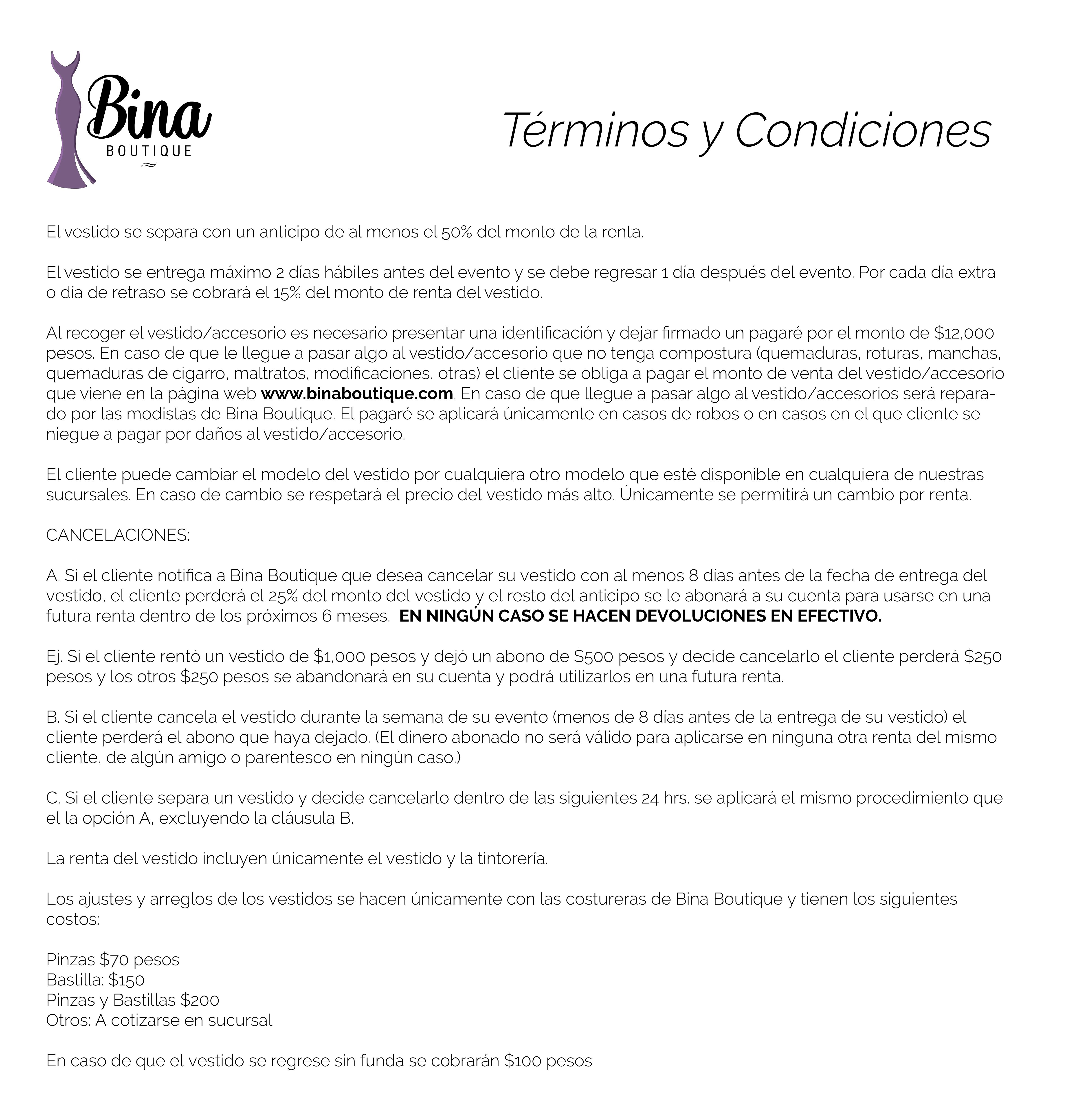 Términos y condiciones Bina Boutique