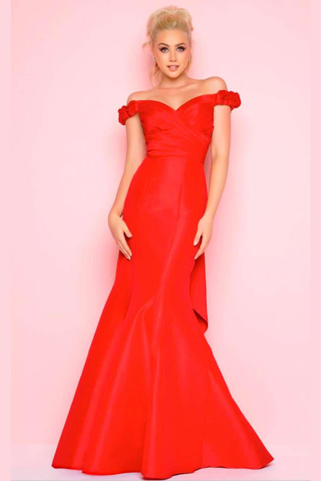 Excepcional Vestido De Fiesta Rojo La Femme Regalo - Colección de ...