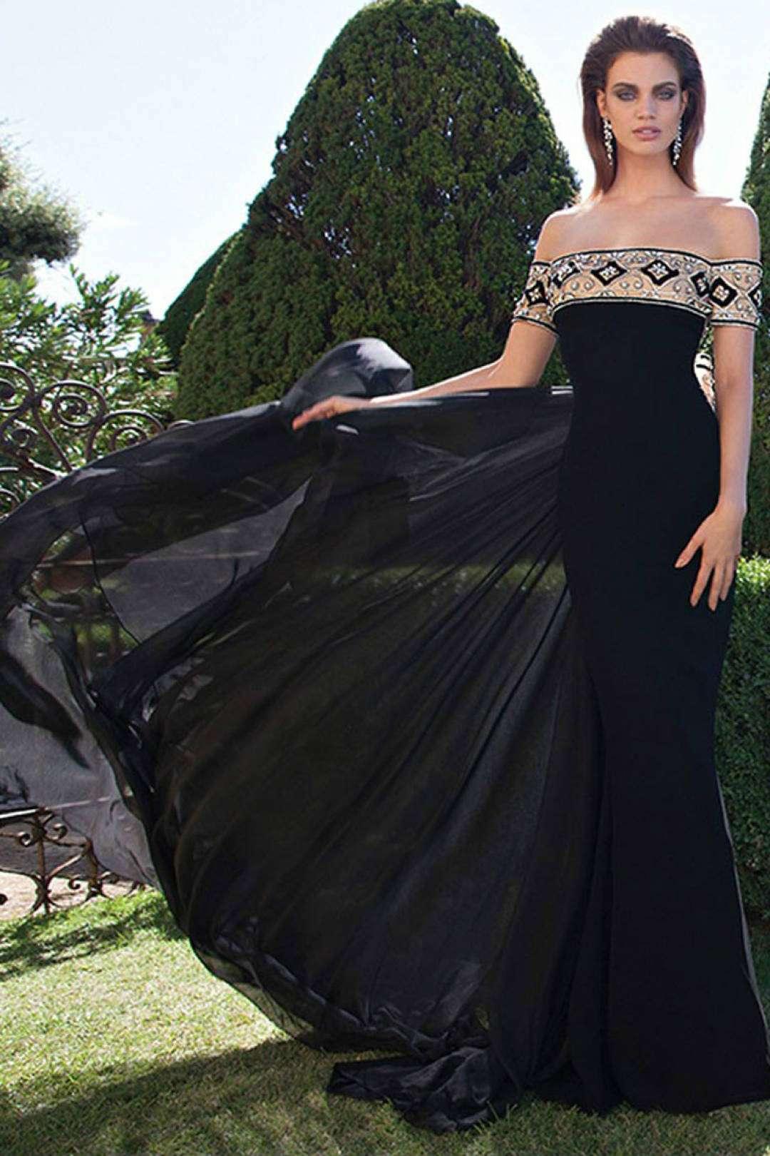 Vestidos de fiesta negro con beige