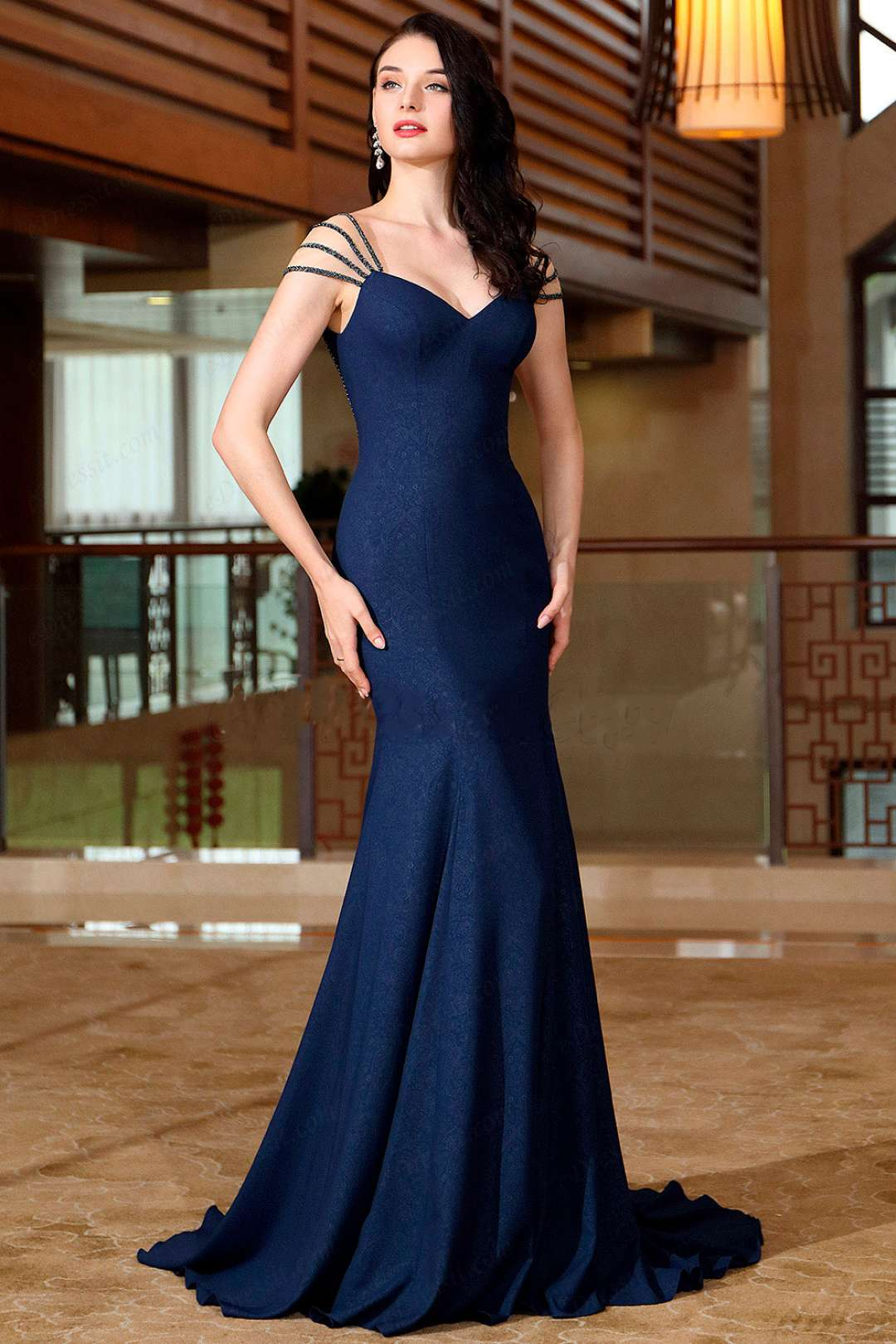 d96ebde2f Vestido de noche azul petroleo - Vestidos elegantes