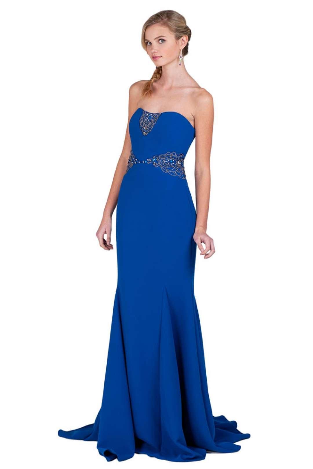 Vestidos de noche azul rey venta