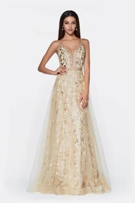 223123b94 ... Deslumbra con este vestido largo de noche con un divino estampado  floral con purpurina y una
