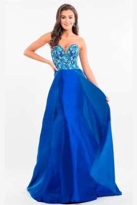 Vestido de noche azul rey corto